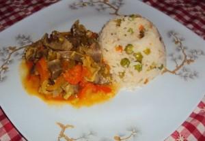 Mollejas con arroz graneado