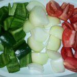 Cebolla, tomate y morrón